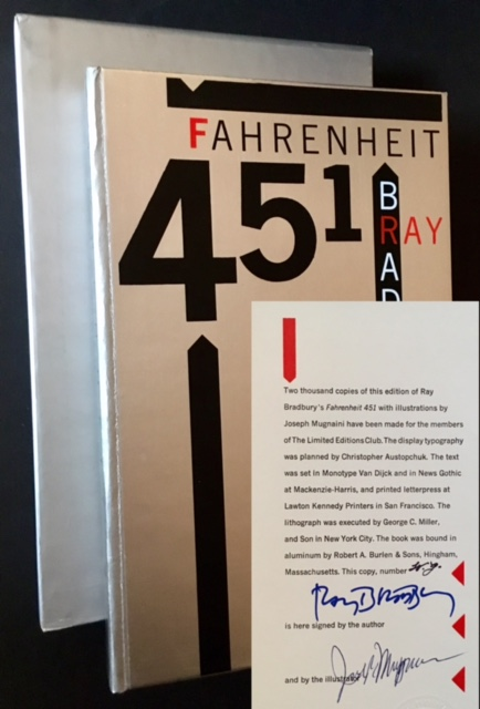 Fahrenheit 451 (The Lettered Presentation Copy). Ray Bradbury.