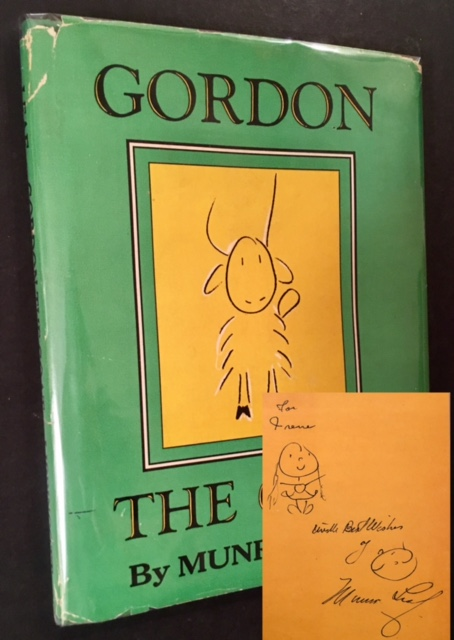 Gordon the Goat (Inscribed by Munro Leaf, with 2 Accompanying Drawings). Munro Leaf.