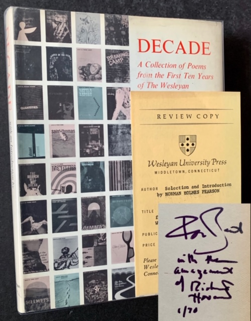 Decade: A Collection of Poems from the First Ten Years of The Wesleyan Poetry Program (Burt Britton's Copy--Signed by 6 of the Contributors)