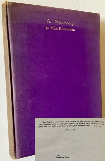 A Survey (The Signed/Limited Edition AND John Quinn's Copy). Max Beerbohm.