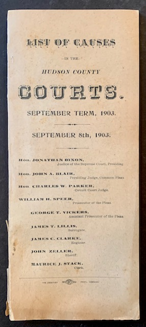 List of Causes in the Hudson County (New Jersey) Courts. September Term, 1903