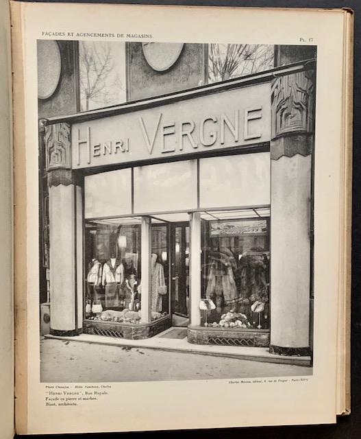 Modern French Shop-Fronts and Their Interiors (Complete with 54 Plates). Rene Herbst.