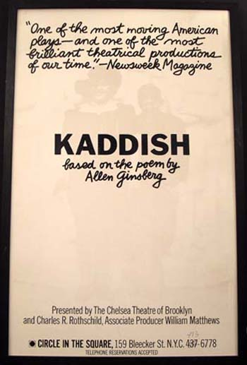 """""""Circle-in-the-Square"""" Poster for the Theatrical Production of Kaddish. Allen Ginsberg."""