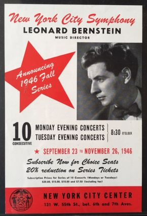 1946 New York City Symphony Announcement (and Leonard Bernstein Ephemera