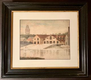 1885 Watercolor of Harvard's Original Boathouse. E M. Fairchild