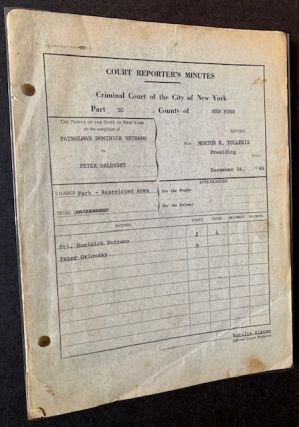 The Original Transcript (The Court Reporter's Minutes) of a 1966 Peter Orlovsky New York Trial
