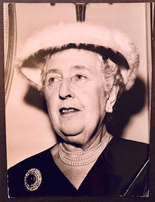 Black-and-White Press Photograph of Agatha Christie