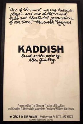 """Circle-in-the-Square"" Poster for the Theatrical Production of Kaddish. Allen Ginsberg"