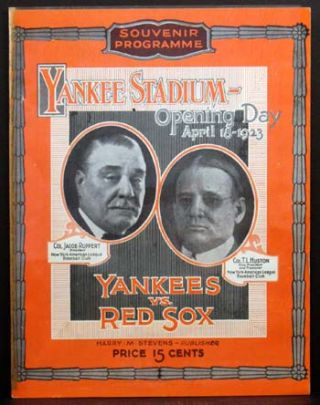 Official Souvenir Program: Yankee Stadium-- Opening Day April 18th, 1923