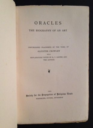 Oracles: The Biography of an Art